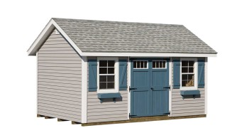 Shown with optional flower boxes in Pewter Siding • White Trim • Fox Hollow Gray Roof Blue doors & Shutters