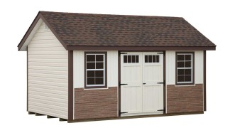 Shown with optional Desert Tan stone front in Ivory • Brown Trim • Hickory Roof • Navajo White Doors