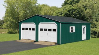 Shown with optional 11-lite door and ramps in Green • White Trim • Black Roof