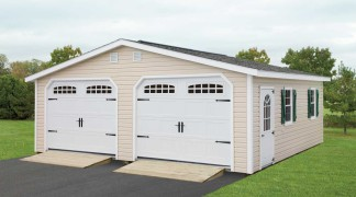 Shown with optional ramps in Sand • White Trim • Weatherwood Roof • Green Shutters