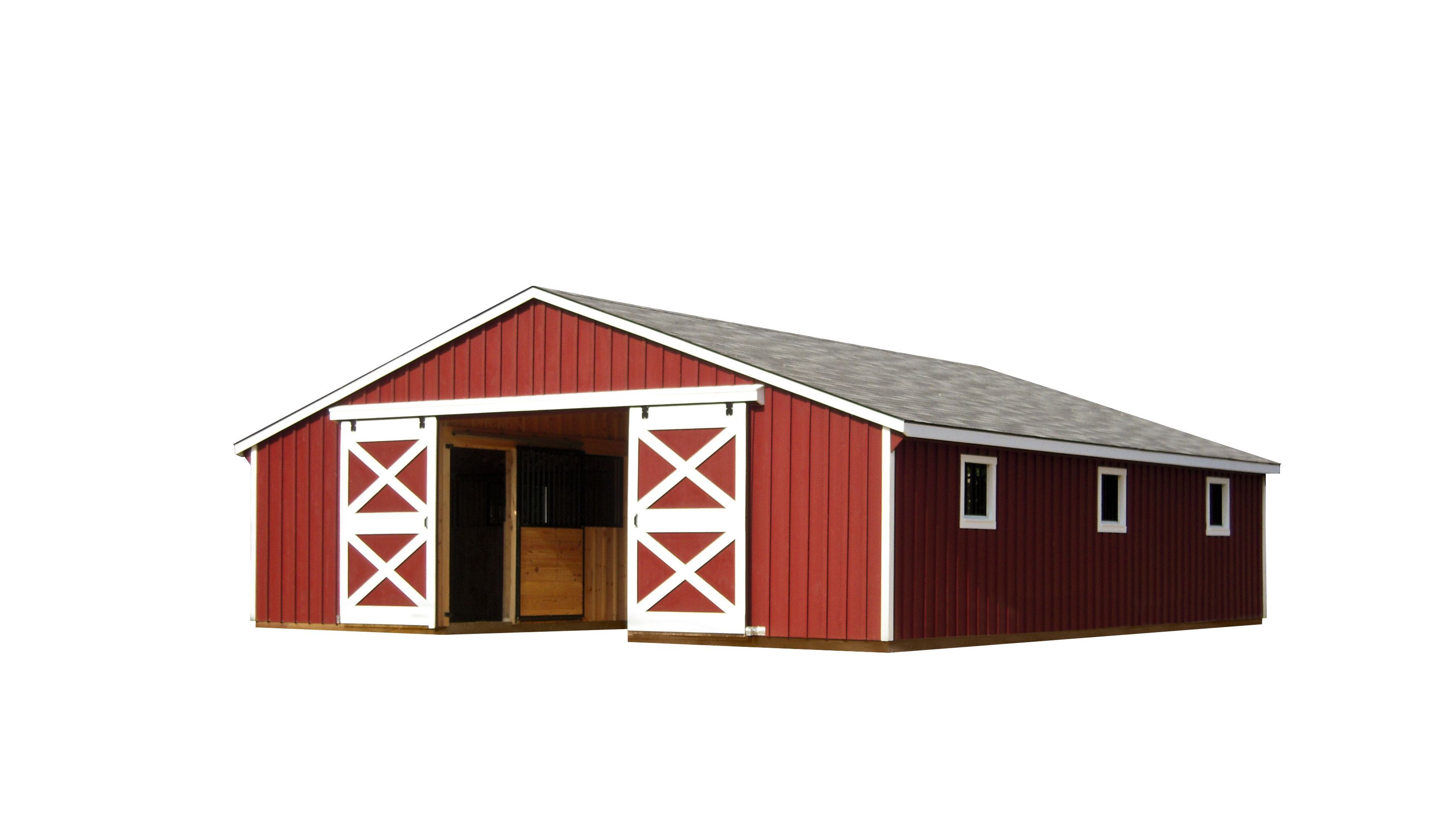 Modular horse barns amish sheds from bob foote for Red barn prefab
