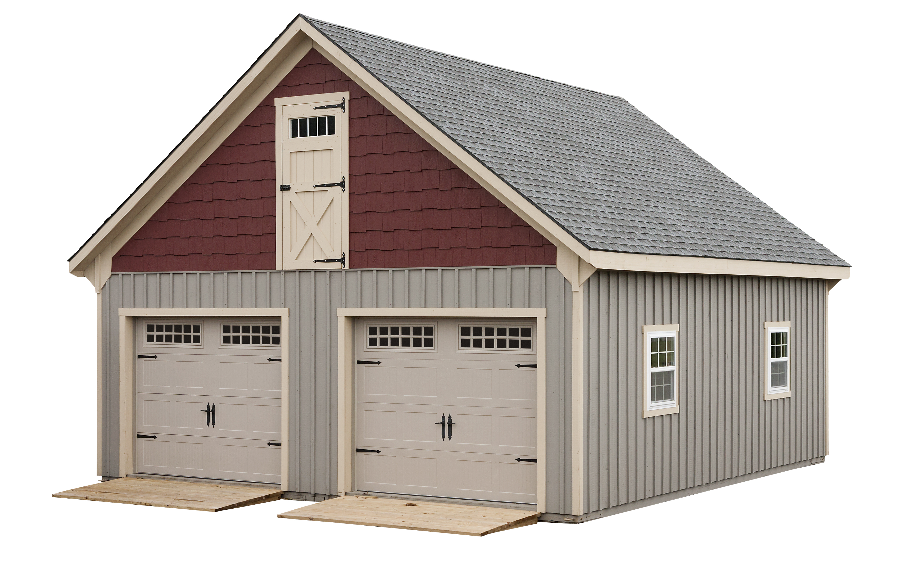 20 x 24 two story double wide garage amish sheds from for Double story garage