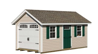 Shown in Sand • White Trim • Weatherwood Roof • Green Shutters & Doors