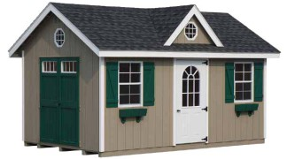 Shown with optional picture windows in doors, and optional flower boxes and end vents Clay • White Trim • Black Roof green Shutters & doors