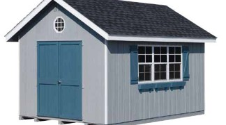 Shown with optional flower boxes and end vents in Lite Gray • White Trim • Black Roof Blue Shutters & doors