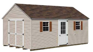 Shown with optional 9-lite steel panel door in Sand • White Trim • Hickory Roof • Chestnut Shutters