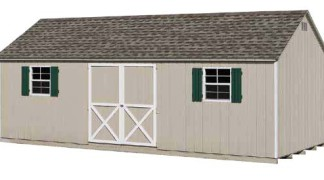 Shown with optional end vents in Almond • White Trim • Green Shutters • Weatherwood Roof