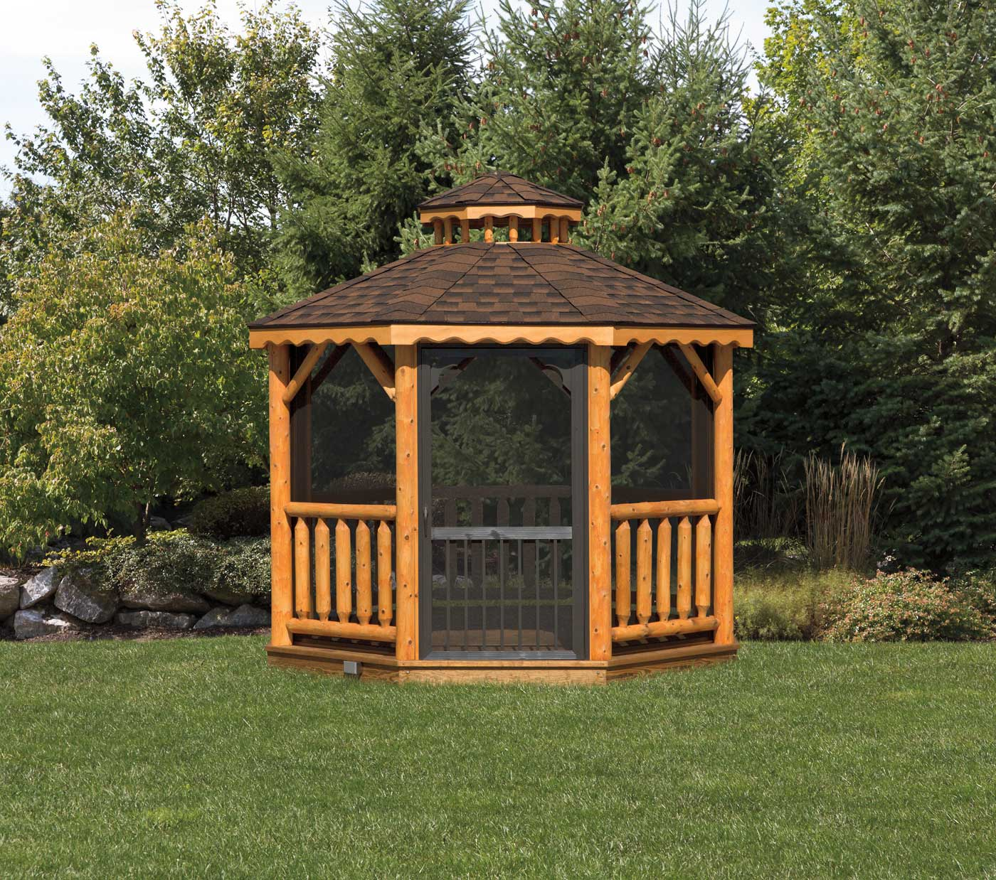 10 Log Octagon Gazebo 171 Amish Sheds From Bob Foote